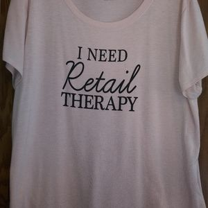 "Belle Sky sz XL Pink ""I Need Retail Therapy"" Tee"